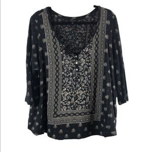 Lucky Brand 1X black and gray tunic top multicolor